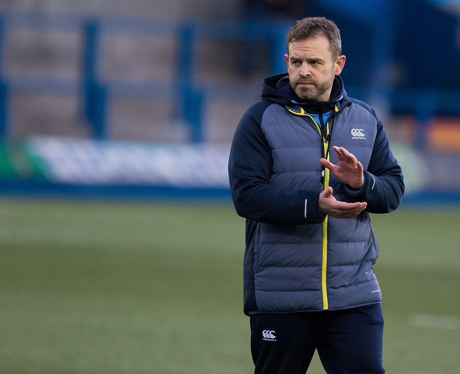 Cardiff Blues' Head Coach Danny Wilson during the pre match warm up<br /> <br /> Photographer Simon King/Replay Images<br /> <br /> Guinness PRO14 Round 15 - Cardiff Blues v Munster - Saturday 17th February 2018 - Cardiff Arms Park - Cardiff<br /> <br /> World Copyright © Replay Images . All rights reserved. info@replayimages.co.uk - http://replayimages.co.uk