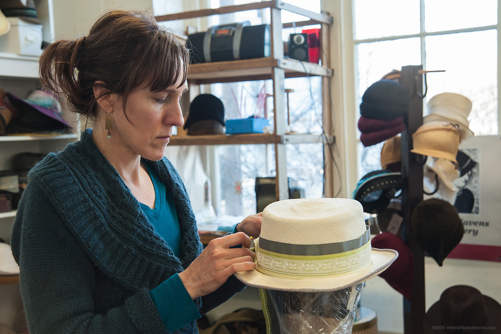 Sarah Havens produces hats in her studio in the Hope Worsted Mills building, Sarah Havens Millinery, photographed Monday, March 28, 2014 in Louisville, Ky. (Photo by Brian Bohannon/www.brianbohannon.com)