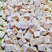 Rose Water flavored Turkish Delight (known in Turkish as Lokum) for sale in the Spice Bazaar (also known as the Egyption Bazaar) in Istanbul, Turkey.
