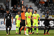 Vadis Odjidja receives a red card from Lawrence Visser during the Jupiler Pro League matchday 4 between Kas Eupen and Kaa Gent on August 19, 2018 in Eupen, Belgium, Photo by David Hagemann /Isosport / Pro Shots / ProSportsImages / DPPI