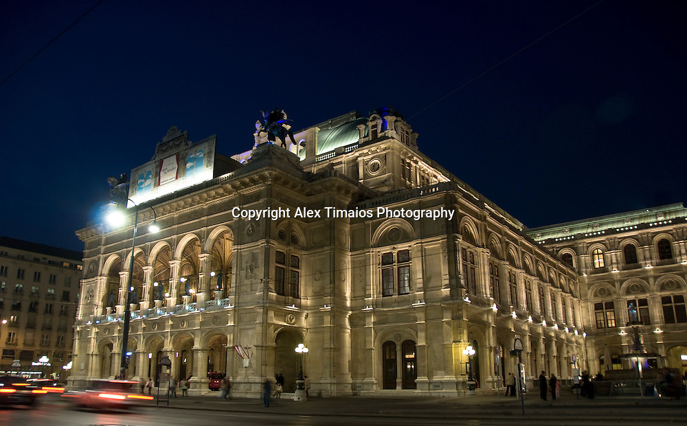 The Vienna Opera, illuminated by night