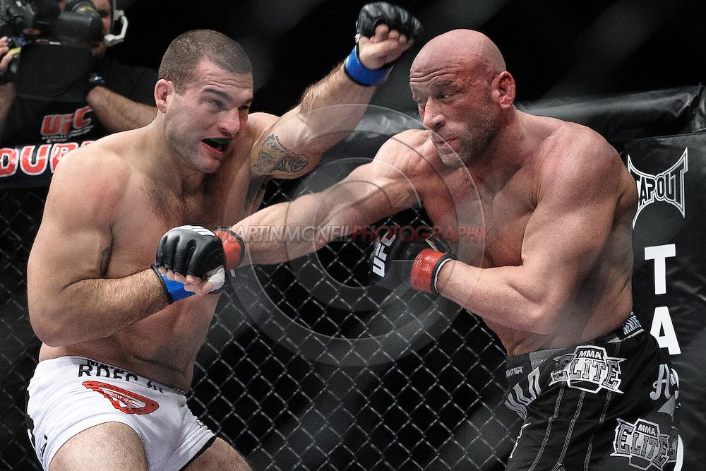 "DUBLIN, IRELAND, JANUARY 17, 2009: Mauricio Rua (left) and Mark Coleman during ""UFC 93: Franklin vs. Henderson"" inside the O2 Arena in Dublin, Ireland"