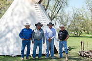 Real Bird Brothers, Richard, Henry, Jim, Kennard, at Henry Real Bird daughter Lucy graduation celebration, Medicine Tail Coulee, Crow Indian Reservation, Montana