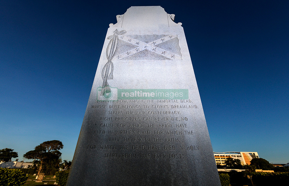 August 16, 2017 - West Palm Beach, Florida, U.S. - A monument ''In memory of our Confederate Soldiers'' stands in Woodlawn Cemetary in West Palm Beach Wednesday. The monument is under debate. The monument was erected by the United Daughters of the Confederacy in 1941, according to the inscription. (Credit Image: © Lannis Waters/The Palm Beach Post via ZUMA Wire)