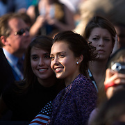Actress Jessica Alba on the fourth day of the Democratic National Committee (DNC) Convention at Invesco Field in Denver, Colorado (CO), Thursday, Aug. 28, 2008.  ..Photo by Khue Bui