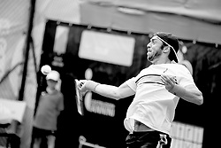 June 22, 2018 - L'Aquila, Italy - (EDITORS NOTE: Image has been converted to black and.white.) Paolo Lorenzi during match between Filippo Baldi (ITA) and Paolo Lorenzi (ITA) during day 7 at the Internazionali di Tennis Citt dell'Aquila (ATP Challenger L'Aquila) in L'Aquila, Italy, on June 22, 2018. (Credit Image: © Manuel Romano/NurPhoto via ZUMA Press)