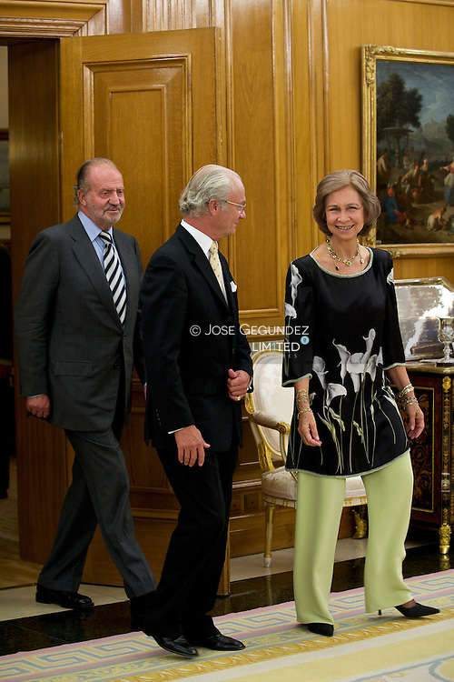 Their Majesties Kings D. Juan Carlos I and Da. Sofia, accompanied by HRH the Princes of Asturias, D. Felipe and Da. Letizia and  Princes Elena, host a dinner for His Majesty King Carl Gustaf of Sweden