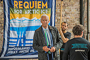 Jon Snow arrives. Charlotte Church, Welsh singer, performs outside Shell HQ as part of month long protest against Arctic drilling from Greenpeace. The protest involves a classical orchestra performing a daily Requiem for the Arctic Ocean. Shell Centre, Southbank, London, UK 26 Aug 2015