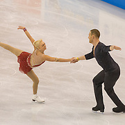 Caydee Denney and John Coughlin compete in the championships pairs short program at the 2014 US Figure Skating Championships at TD Garden in Boston, MA, on January 9, 2014.