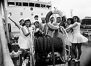 Aboard the SS Miranda, a Guinness ship, the cast of the musical revue Dames at Sea go through their paces to promote the show.<br />