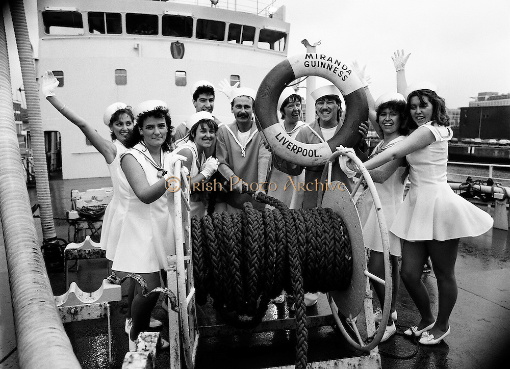 Aboard the SS Miranda, a Guinness ship, the cast of the musical revue Dames at Sea go through their paces to promote the show.<br /> 19 November 1987