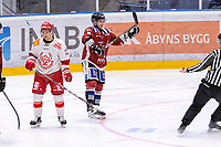 2020-01-19 | Umeå, Sweden: Teg (8) Anton Tano score 4-0 to Teg and Vallentuna (13) Wilhelm Stoor seems dissapointed  in AllEttan during the game  between Teg and Vallentuna at A3 Arena ( Photo by: Michael Lundström | Swe Press Photo )<br /> <br /> Keywords: Umeå, Hockey, AllEttan, A3 Arena, Teg, Vallentuna, mltv200119, happy happiness celebration celebrates, sad unhappy disappointment disappointed dejected