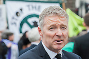 Rory Bremner. Tony Benn's funeral at 11.00am at St Margaret's Church, Westminster. His body was brought in a hearse from the main gates of New Palace Yard at 10.45am, and was followed by members of his family on foot. The rout was lined by admirers. On arrival at the gates it was carried into the church by members of the family. Thursday 27th March 2014, London, UK. Guy Bell, 07771 786236, guy@gbphotos.com