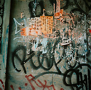 Wall of Graffiti and Chinese symbols, USA
