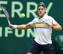 June 22, 2018 - Halle, Westphalia, Allemagne - Germany, Halle, Westphalia, Tennis, Gerry Weber Open 2018...American player Denis Kudla (USA pictured during his match of 1/4 final against Japanese player Yuichi Sugita (JPN) in Halle at Gerry Weber open 2018 (Credit Image: © Panoramic via ZUMA Press)