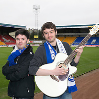 Two musical St Johnstone fans write a song called 'Fair Maid' to mark the club reaching the Scottish Cup Final, pictured are Ollie Wale (left) and Jamie Harris known as 'The Shrugs' at McDiarmid ParkPicture by Graeme Hart.<br /> Copyright Perthshire Picture Agency<br /> Tel: 01738 623350  Mobile: 07990 594431