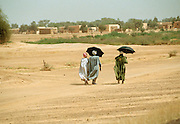 Walking home - Mid-day Sun Landscape - Podor Senegal