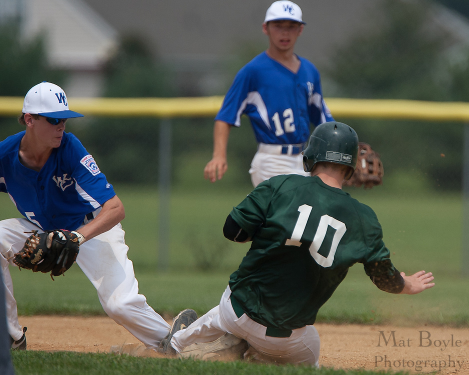 West Deptford's Tyler Strano slides into second and collides with Waldo County Maine's Cody Varney's left leg during a elimination bracket game of the Eastern Regional Senior League tournament held in West Deptford on Sunday, August 7. Strano would be thrown out of the game for an aggressive slide on the play.