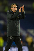 Graham Potter, Head Coach of Brighton & Hove Albion FC thanking the Brighton & Hove Albion FC supporters following the 2-2 draw in the Premier League match between Brighton and Hove Albion and Wolverhampton Wanderers at the American Express Community Stadium, Brighton and Hove, England on 8 December 2019.