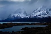 Mist shrouded peak of the Andes in Torres del Paine in southern Chile