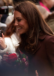 © Licensed to London News Pictures. 14/02/2012. Liverpool, UK. The Duchess of Cambridge greets members of the public at Alder Hey Hospital. Photo credit : Ashley Hugo/LNP