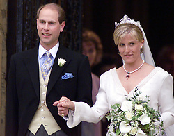 Prince Edward, the youngest son of Britain's Queen Elizabeth II, and his bride Sophie Rhys-Jones leave St. Georges's Chapel in Windsor Castle following their marriage. The royal couple will hereafter be known as the Earl and Countess of Wessex.