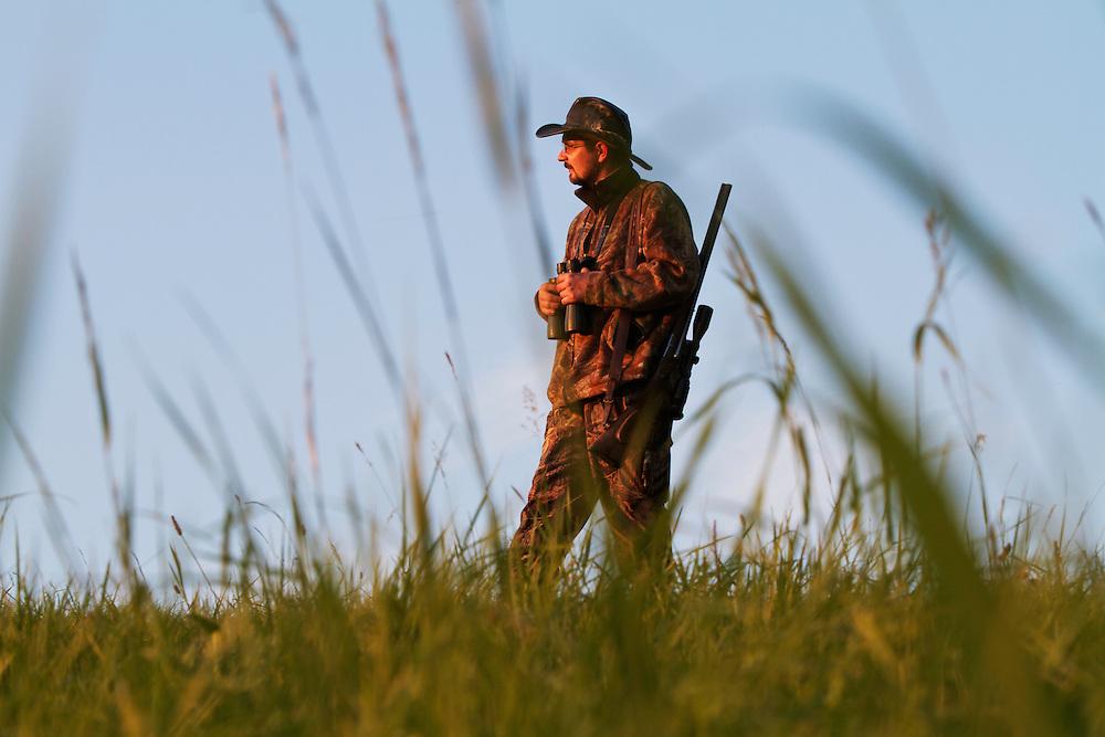 Hunter walking on a meadow with rifle and binoculars. Leszczowate, Bieszczady region, Poland.