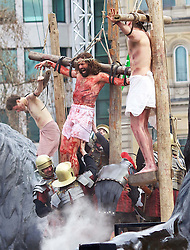 Open air performance of the Passion of Jesus in Trafalgar Square, London, Good Friday, 29th March 2013. Photo by Andre Camara / i-Images