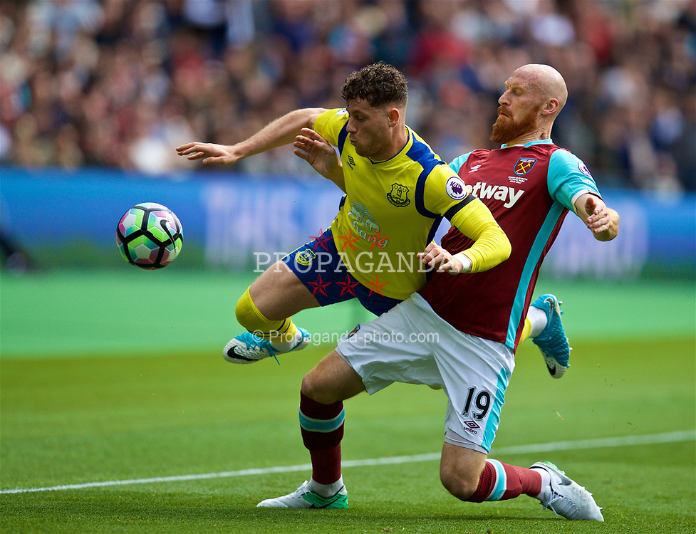 LONDON, ENGLAND - Saturday, April 22, 2017: Everton's Ross Barkley is tackled by West Ham United's James Collins during the FA Premier League match at the London Stadium. (Pic by David Rawcliffe/Propaganda)