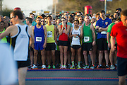 Runners line up before the start of the Dash Down Greenville 5k in Dallas on Saturday, March 16, 2013. (Cooper Neill/The Dallas Morning News)