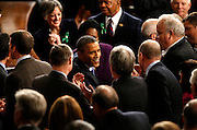 2/12/13 9:10:59 AM -- Washington, DC, U.S.A<br />  -- President Barack Obama is greeted as he enters the chamber floor before he delivers the State of the Union address to a joint session of the United States Congress in the House chamber of the U.S. Capitol.  The Enquirer/Jeff Swinger