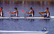 2000 Sydney Olympic Games - Sydney. NSW. Australia.Olympic Regatta - Penrith Lakes..23.09.2000. Finals day2002 Sydney Olympic Games - Sydney. NSW. Australia.Olympic Regatta - Penrith Lakes..23.09.2000. Finals day.GBR M4- Stroke Matt Pinsent, 2 Tim Foster, 3 Steve Redgrave and James Cracknell. final strokes of the Olympic final..Lane 5 ITA M4-  Stroke V MOLEA; 2. R DEI ROSSI;  3. L CARBONCINI;Bow C MORNATI.Lane 4 AUS M4- Stroke J STEWART; 2. G STEWART; 3. .B DODWELL; Bow. B HANSON 2000 Olympic Regatta Sydney International Regatta Centre (SIRC) 2000 Olympic Rowing Regatta00085138.tif