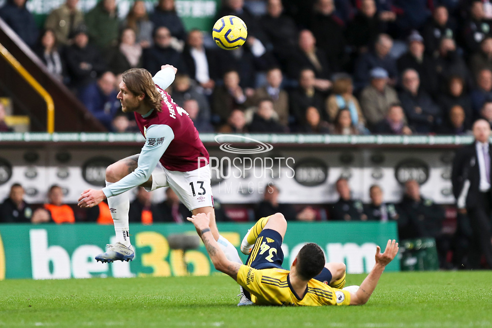 Arsenal midfielder Granit Xhaka challenge Burnley midfielder Jeff Hendrick during the Premier League match between Burnley and Arsenal at Turf Moor, Burnley, England on 2 February 2020.