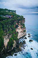 The sheer cliffs at Ulawatu Temple in southern Bali, Indonesia.