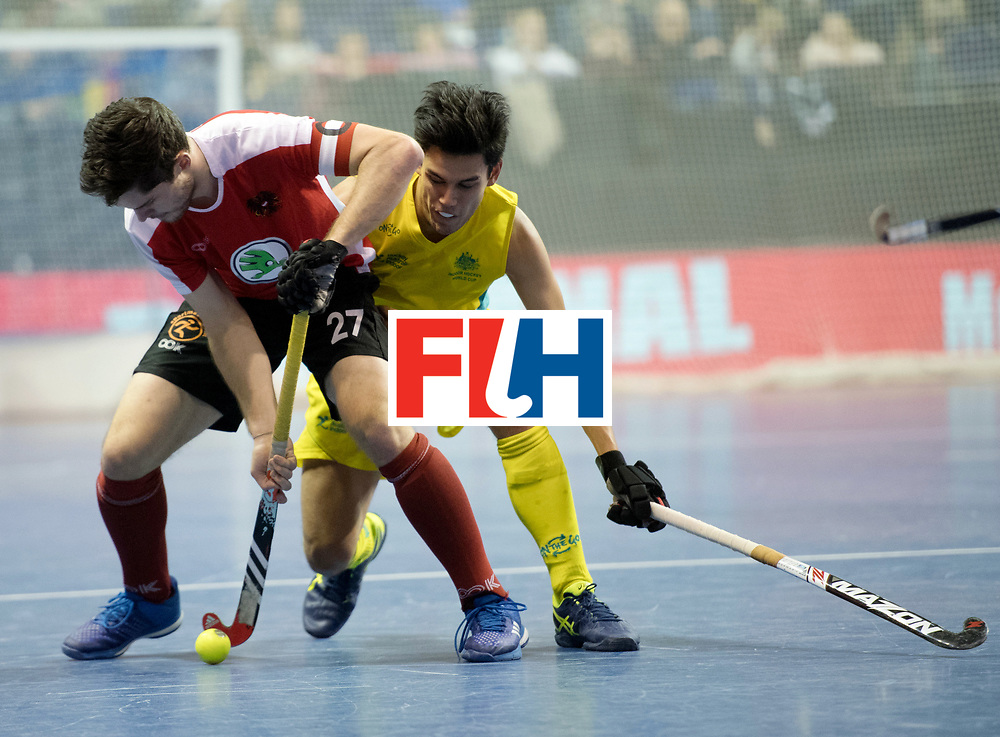 BERLIN - Indoor Hockey World Cup<br /> SF2 Australia - Austria<br /> foto: Xaver Hasun and Jake Sherren <br /> WORLDSPORTPICS COPYRIGHT FRANK UIJLENBROEK