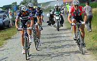 Sykkel<br /> Tour de France 2010<br /> 06.07.2010<br /> Tredje etappe - Wanze til Arenberg<br /> Foto: PhotoNews/Digitalsport<br /> NORWAY ONLY<br /> <br /> THOR HUSHOVD - vinner og tok over grønn trøye<br /> <br /> THOR HUSHOVD -  FABIAN CANCELLARA - ANDY SCHLECK