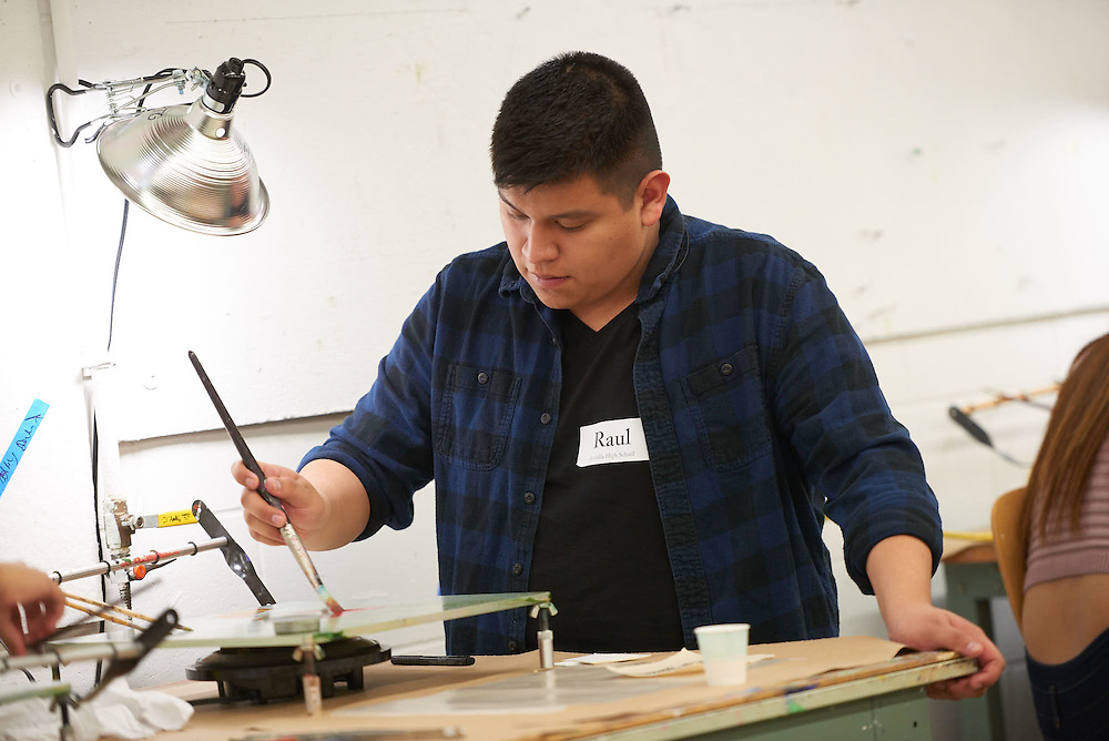 Activity; Art; Buildings; Center for the Arts CFA; Fall; November; Location; Inside; People; High School; Type of Photography; Candid; UWL UW-L UW-La Crosse University of Wisconsin-La Crosse; High School students get a hands on tour of art classes; Diversity