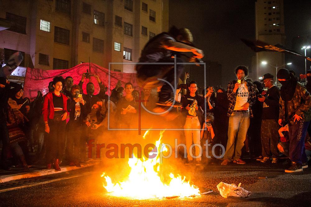 5° ato contra o corte do passe livre estudantil, em São Paulo nesta quinta feira (24). Foto: Eduardo Petrini/FramePhoto