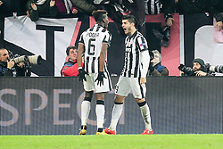 24.02.2015, Juventus Stadium, Turin, ITA, UEFA CL, Juventus Turin vs Borussia Dortmund, Achtelfinale, Hinspiel, im Bild l-r: Torjubel von Paul Pogba #6 (Juventus Turin) und Alvaro Morata #9 (Juventus Turin) // during the UEFA Champions League Round of 16, 1st Leg match between between Juventus Turin and Borussia Dortmund on at the Juventus Stadium in Turin, Italy on 2015/02/24. EXPA Pictures © 2015, PhotoCredit: EXPA/ Eibner-Pressefoto/ Kolbert<br /> <br /> *****ATTENTION - OUT of GER*****