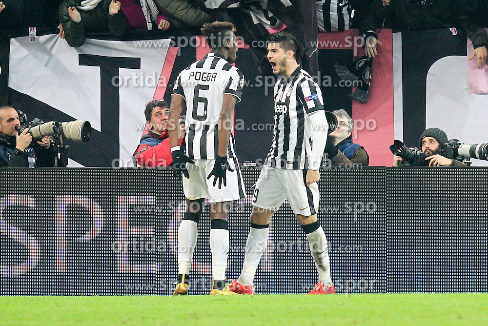 24.02.2015, Juventus Stadium, Turin, ITA, UEFA CL, Juventus Turin vs Borussia Dortmund, Achtelfinale, Hinspiel, im Bild l-r: Torjubel von Paul Pogba #6 (Juventus Turin) und Alvaro Morata #9 (Juventus Turin) // during the UEFA Champions League Round of 16, 1st Leg match between between Juventus Turin and Borussia Dortmund on at the Juventus Stadium in Turin, Italy on 2015/02/24. EXPA Pictures &copy; 2015, PhotoCredit: EXPA/ Eibner-Pressefoto/ Kolbert<br /> <br /> *****ATTENTION - OUT of GER*****