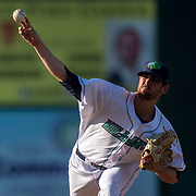 LYNCHBURG, VA - JULY 7: Pitcher #22 Shane Bieber delivers a pitch in the 2nd inning on Friday, July 7, 2017 in Lynchburg, Va. (Photo by Jay Westcott/The News & Advance)