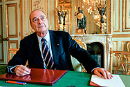 French President Jacques Chirac at the Elys&eacute;e Palace on the morning after France took a high profile stance against military intervention in Iraq.<br /> 15/02/2003. Paris, France.
