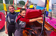 AT5BW9 Girl and boy twins with their Mirror dinghy sailing boat