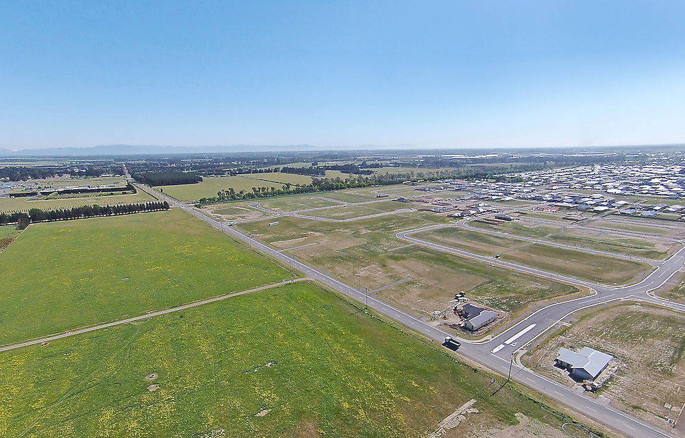 Aerial view of farmland and a new subdivision south of Rolleston, New Zealand, Monday, 02 November, 2015.    Credit: SNPA / Pam Carmichael