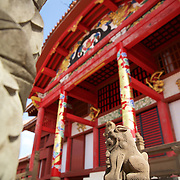 Standing guard at the seat of the Ryukyu kingdom, Shisa lions feature in prominent positions among the golden dragons of Shuri Castle