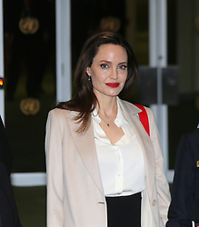 March 29, 2019 - Nyc, NY, United States - UN High Commissioner for Refugees Special Envoy Angelina Jolie was on hand to address the General Assembly after pausing for a photo op with UN Military Gender Advocate of the Year, Lt Commader Marcia Andrade Braga and Assistant Secretary-General for Africa Bintou Keitra. (Credit Image: © Andy Katz/Pacific Press via ZUMA Wire)