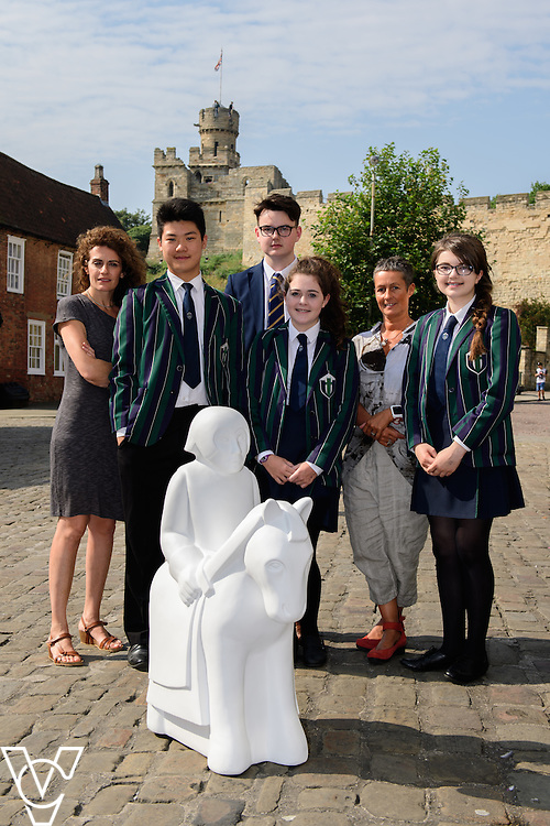 The Lincoln Knights&rsquo; Trail Education Programme - The EBP has been appointed as the official education partner for the 2017 Lincoln Knights&rsquo; Trail.  Pictured pupils and staff from Lincoln Minster School with a half sized knight which is part of the education programme in front of Lincoln Castle<br /> <br /> Picture: Chris Vaughan Photography for The EBP<br /> Date: September 14, 2016