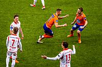 1. divisjon fotball 2018: Aalesund - Levanger (4-0). Aalesunds Holmbert Fridjonsson (t.v.) og Oddbjørn Lie feirer 2-0 i kampen i 1. divisjon i fotball mellom Aalesund og Levanger på Color Line Stadion. Andreas Peterson og Robert Stene nærmest i midten.