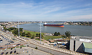 Atlantic Prime freighter, callsign V7XF7; Aerial view of New Orleans' French Quarter along the Mississippi Riverfront