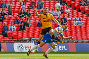 Newport County defender Dan Butler (3) appears to foul Tranmere Rovers midfielder Kieron Morris (19) in the penalty area during the EFL Sky Bet League 2 Play Off Final match between Newport County and Tranmere Rovers at Wembley Stadium, London, England on 25 May 2019.